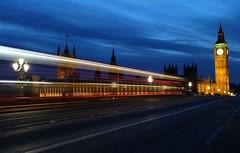 Westminster lights (Westhamwolf) Tags: city bridge light london westminster night big ben trails parliament