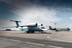 AN-72 and Sexyjet (Oleg Botov) Tags: sky plane airport aircraft aviation jet spotting airliners gulfstream avia jetliner svo  planespotting antonov  sheremetyevo  an72 avgeek uuee  planeporn crewlife sexyjet slavniyoleg