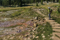Soda Springs (LeftCoastKenny) Tags: yosemitenationalpark tuolumnemeadows sodasprings hiker trees rocks grass boulders