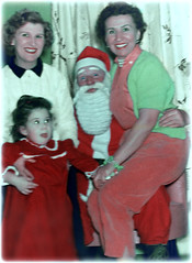 Three Generations for Christmas (Chris C. Crowley) Tags: threegenerationsforchristmas momgagaandmewithsanta christmas1957 santa christmas people family women man mother grandmother me toddler child