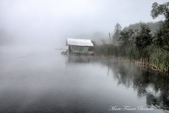 Just a dock (MarieFrance Boisvert) Tags: easterntownships summer mist august fog 2016 quebec massawippiriver northhatley