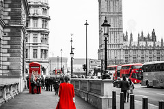 """Red London. (¡arturii!) Tags: street city trip travel red urban blackandwhite woman bus london beauty wow amazing nice interesting holidays europe tour phone dress superb unitedkingdom box awesome great bigben tourists route stunning viatge vacations impressive gettyimages colorselection traveldestination westmisnter arturii arturdebattk """"canonoes6d"""""""