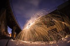 Far (IAmTheSoundman) Tags: longexposure nightphotography ohio snow night graffiti jake takumar cleveland tracks orb sparks steelwool a99 trainavenue barshick jakebarshick