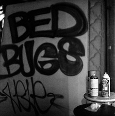 Bed Bugs (christait) Tags: blackandwhite bw canada calgary writing graffiti paint graf grain hasselblad alberta spraypaint cans yyc ilforddelta3200 500cm boxman yycstreet boxmanpress rodinal1100stand2hrs bedbugshere