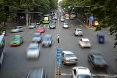 Xi'an Traffic (Daniele Sartori) Tags: auto china street city trip travel blur car speed nikon asia strada traffic xian   viaggio cina shaanxi velocit citt traffico d600  vigile