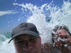 Another successful selfie! (BarryFackler) Tags: ocean sea beach water hawaii polynesia coast paradise surf pacific waikiki oahu anniversary wave baseballhat betty pacificocean shore surprise honolulu splash waikikibeach saltwater whoops selfie fail baseballcap silveranniversary royalhawaiianhotel 2015 theroyalhawaiian sealifecamera bettybowen barryfackler barronfackler bettyfackler our25thweddinganniversary