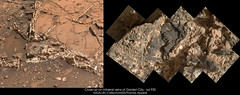 Close-up on mineral veins of Garden City - sol 930 (Thomas Appéré) Tags: mars msl curiosity science nature exploration rock rocher montage mosaic geology