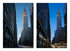 Chrysler Building from Lexington Avenue, Golden and Blue Hour (John Cunniff) Tags: city nyc newyorkcity sky urban newyork skyline architecture cityscape manhattan lexington urbano lighttrails chrysler nuevayork urbain lexingtonavenue  cartrails      ciudaddenuevayork