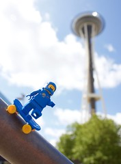 Space Needle, SPACE NEEDLE! High Res (thereeljames) Tags: seattle lego pacificnorthwest spaceman benny spaceneedle minifig minifigure legopics legophotography stuckinplastic seattletoyphotosafari