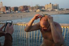 Crab (dtanist) Tags: new york city nyc newyorkcity sea newyork beach brooklyn zeiss island pier fishing fisherman head sony bald crab contax shore carl boardwalk catch balance coney a7 45mm planar steeplechase carlzeiss