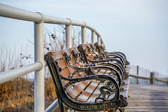 Benches at the beach (HSBasra) Tags: new wood city sea abstract beach metal bench atlantic jersey