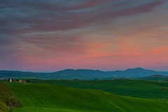 Sunset at Vitaleta (jfusion61) Tags: pink sunset italy mountains green landscape nikon dusk small chapel tuscany siena 2470mm vitaleta d810