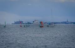 Windsurfing race with Kronborg castle in the background (frankmh) Tags: race denmark sweden outdoor windsurfing windsurfer helsingr resund kronborg