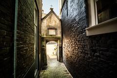 old gate (bjdewagenaar) Tags: street city urban holland colors dutch alley gate raw angle pavement sony bricks wide sigma split alpha 1020mm lightroom toning gorinchem a58 gasthuispoortje