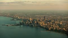Chicago Evening (redfurwolf) Tags: sunset usa chicago water skyline clouds america skyscraper sony redfurwolf