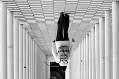 backpack 2 (Wackelaugen) Tags: street blackandwhite bw white black lines canon germany walking person photography eos mono photo blackwhite walk patterns structures bblingen backpack googlies wandelhalle wackelaugen