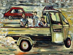"""Bambini in Napoli--""""Faves"""" are nice; COMMENTS, add a personal touch. (The Big Jiggety) Tags: street italy 3 art children arte kunst canvas oil naples enfants 3wheel lancia huile toile oleo ninos lienzo kindern"""