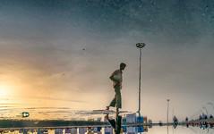 Monsoon Reflection (thiparthi987) Tags: street reflection beach water rain marina google nikon monsoon chennai tamron