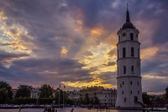Sunset over Cathedral square (grace.morgan100) Tags: sky city sunset street sun light clouds tower urban architecture cityscape summer building beautiful square evening clock vilnius lithuania