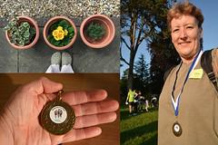 147 Bethan's pots and Hatherop Fun Run (Margaret Stranks) Tags: uk flowers plants gloucestershire medal pots funrun 2016 365days hatherop 147366
