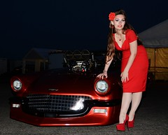 Holly_4298 (Fast an' Bulbous) Tags: girl woman hot sexy chick babe hotty people outdoor red dress high heels stilettos stockings long hair beauty car automobile vehicle ford 55 thunderbird drag strip race track promodified santa pod england model pose nikon d7100 gimp flash