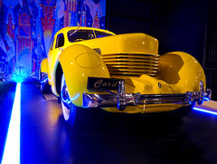 The Yellow Cord (Steve Taylor (Photography)) Tags: auto blue light red newzealand white black art car yellow metal museum design cool automobile perspective nelson sparkle chrome strip nz southisland classiccars 812 elcord