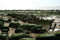 Wreck on Old Hunstanton beach (wells117) Tags: sea seaweed beach water boat rocks ship sony norfolk hull wreck a100 hunstanton oldhunstanton sonyalphaa100 clivewells