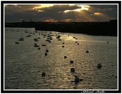 Quand la mer devient or,When the sea becomes gold (De Bretagne et d'ailleurs) Tags: mer france lumire or bretagne bateaux morbihan coucherdesoleil blavet estuaire lanester mouillage