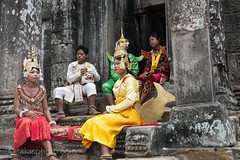 Children in Traditional Khmer Clothing, Angkor Thom, Siem Reap, Cambodia