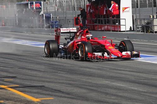 Kimi Raikkonen in his Ferrari in Formula One Winter Testing 2015