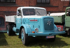 Henschel flatbed truck (The Rubberbandman) Tags: horse white beauty museum truck work vintage germany mercedes benz transport engine tram hannover f65 goods fabric cover german transportation crocodile vehicle oldtimer hanover freight snout flatbed lastwagen hanomag henschel oldvintage hs100