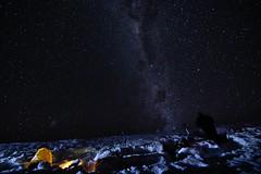 Milky Way above the snowcave (Tomas Sobek) Tags: blue newzealand mountains cold stars early bright many astrophotography otago nightsky multitude candlelit milkyway snowcave shootingstar oldmanrange milkywayabovethesnowcave kopuwai