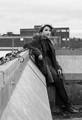 Rachel (Cara Frew) Tags: uk urban white black monochrome make up fashion prime scotland student model nikon portraiture ayr doc greyscale martens d3100