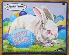 Vintage Whitman Easter Puzzle 1962 (hmdavid) Tags: rabbit bunny vintage easter toy egg puzzle frame tray 1960s whitman 1962 happyeaster