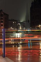 hamburg night lights (Rasande Tyskar) Tags: street city urban church rain weather fog night reflections lights nebel view shot nacht hamburg kirche stadt regen wetter lichter nachtaufnahme hafencity reflektionen