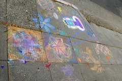 Day 96: Sidewalk Art (quinn.anya) Tags: orange flower art berkeley chalk leaf colorful purple sidewalk day96 525600minutes