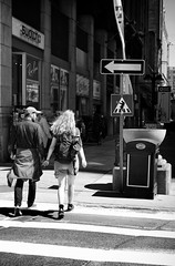The Ministry of Silly Walks (Dan Haug) Tags: montypython crosswalk pedestrians xpro2 xf35mmf14r ottawa sparksstreet downtown tourists streetphotography blackandwhite ministry silly walks johncleese explore explored