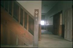 (bensn) Tags: light film window japan stairs diamonds dark wooden post pentax slide hallway 40mm provia nagano f28 fa buidling lx 100f