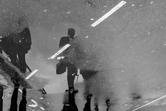 Above water (Sbastien Gross) Tags: street people blackandwhite paris water 35mm puddle fuji candid streetphotography reflexion 2016 x100 project365