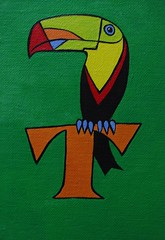 T is for Toucan (Empress of Blandings) Tags: blue red orange black color green birds yellow scarlet t toucan colorful acrylic colours wildlife letters alphabet lettering colourful acrylicpainting acrylics acrylicpaint doodling alphabets tropicalbirds lettert canvasboard alphabetart doodlepainting alphabetpainting birddoodle birdalphabet letterdoodle alphabetdoodle doodlecalligraphy alphabetdoodles birdletter tfortoucan