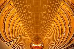 Grand Hyatt Shanghai (UrbanCyclops) Tags: china city urban abstract building tower architecture floors skyscraper spiral hotel golden asia pattern shanghai interior indoor atrium luxury luxurious