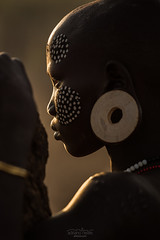 Mursi - Ethiopia, Omo Valley (acseven) Tags: africa travel sunset portrait people woman painting person body culture tribal valley omovalley bodypainting tradition ethiopia tribe et omo adornments serenety