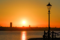Pier head sunset (saile69) Tags: sunset lamps sillouette coloufulsky dreamscape liverpool merseyside merseyferries