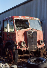 AEC Mammoth Major (unidentified) at Doune. Mar'83. (David Christie 14) Tags: lorry scrapyard doune aecmammothmajor