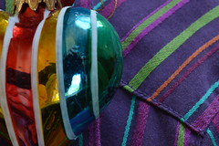 Stripes (Flickr Clicks by Al) Tags: christmas color shirt reflections stripes painted ornament fabric macromondays
