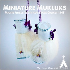 #Miniature #Mukluks back by popular demand! Made by Marie Adele Wetrade from #Gameti, NT on http://onlinestore.tlicho.ca (Tlicho Online Store) Tags: miniature mukluks gameti