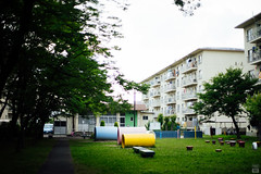 Housing complex (yasu19_67) Tags: park pink blue sunset cloud green japan 50mm empty atmosphere contax osaka photooftheday filmlook housingcomplex filmlike vsco yellow carlzeissplanar50mmf14 vscofilm sony7ilce7