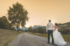 A new life begins (bettermakeanote) Tags: road wedding sunset france tree love soleil nikon couple robe coucher mariage campagne arbre d800 isre 1424