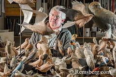 A man and his wooden bird carvings in his studio in Pennsylvania. (Remsberg Photos) Tags: art artist bird carver studio wildlife wood carvings craft skill pennsylvania man oneperson indoors stahlstown usa