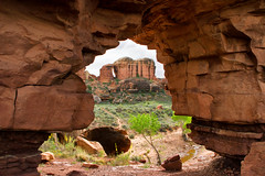 Looking Through the Peekaboo Hole (jpmckenna - Madagascar Trip Now) Tags: utah hiking backpacking canyonlandsnationalpark canyonlands saltcreek desertlandscape getoutside peekabootrail needlestraverse